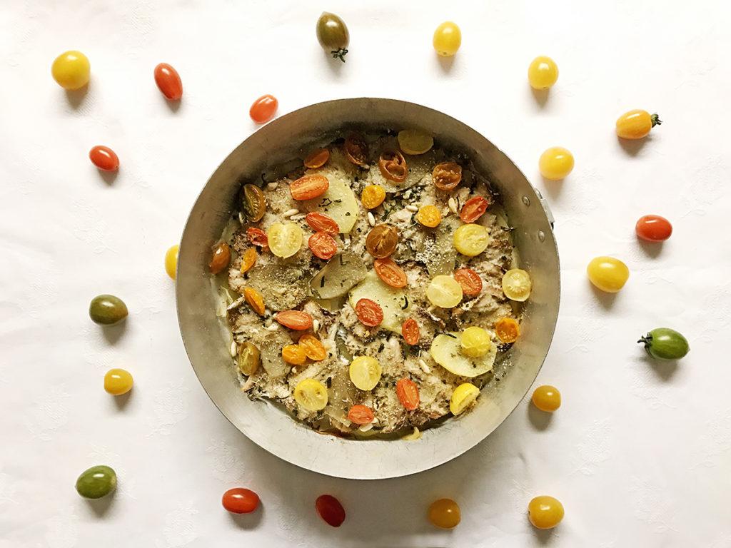 Torta alici patate e pomodori_Un pizzico di Viola 1