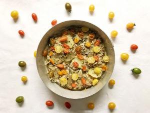 Torta alici patate e pomodori
