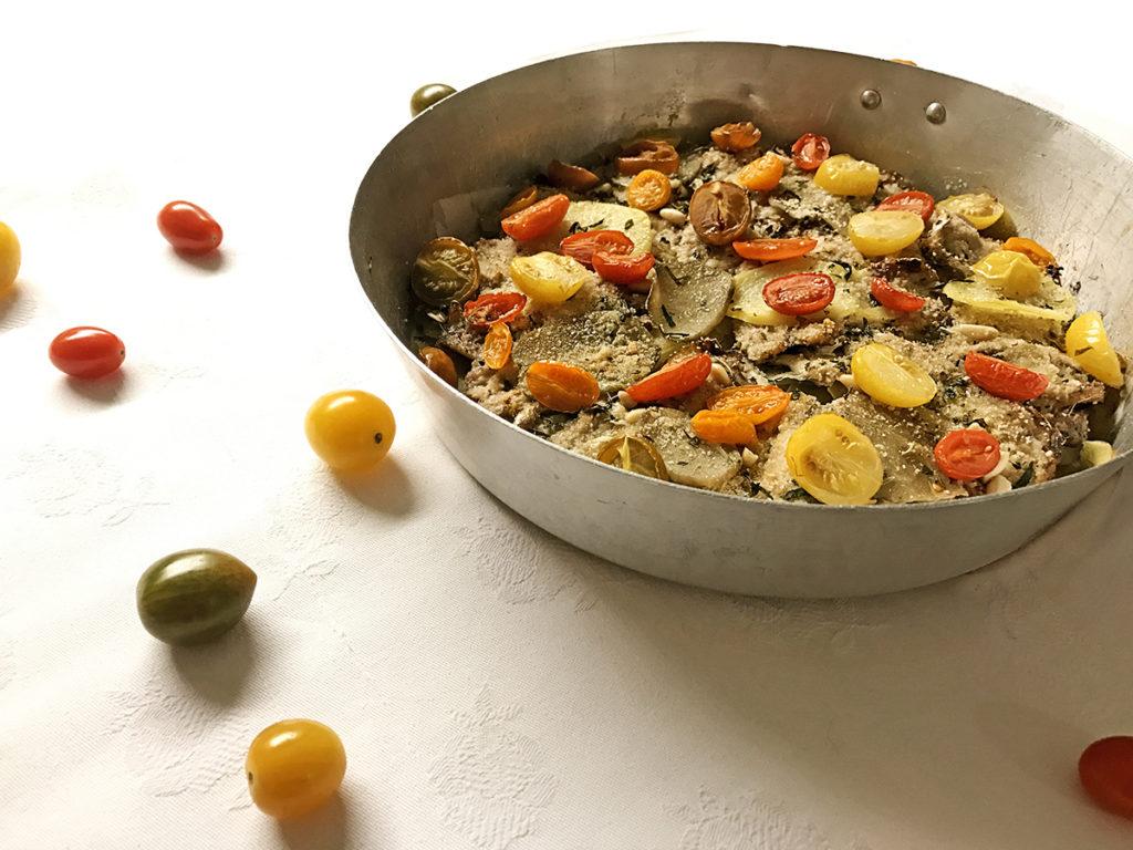 Torta alici patate e pomodori_Un pizzico di Viola 3